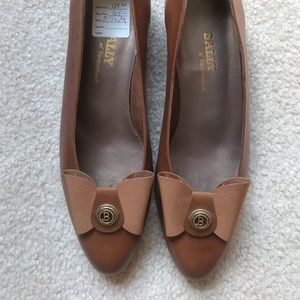 NWT BALLY Brown Vintage Ballet Flat Shoes with Bow